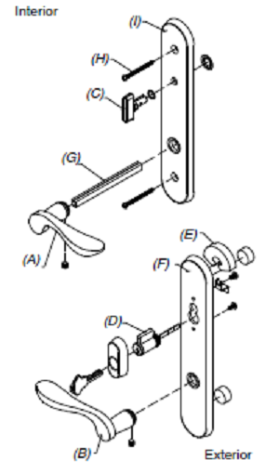 Marvin French Patio Door Handle Sets Active White Keyed
