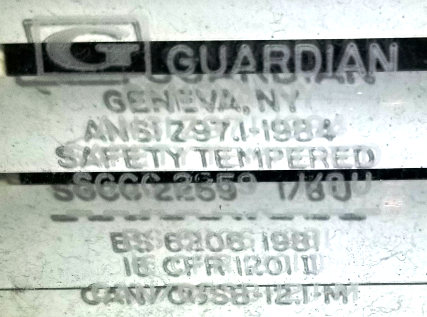 "If you have a window or sliding glass door that needs parts, repair or replacement and it has a ""Guardian"" stamp on the glass, the stamp simply means the glass was ""tempered"" by Guardian"
