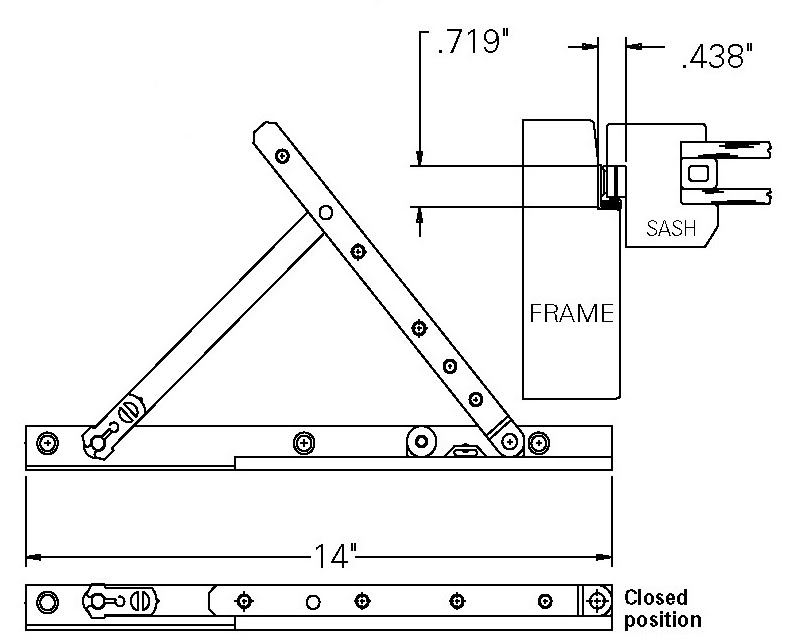 truth awning window hinge pair 14 steel track biltbest window